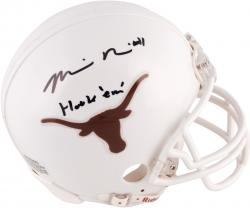 Mike Davis Texas Longhorns Autographed Riddell Mini Helmet with Hook Em Inscription - Mounted Memories