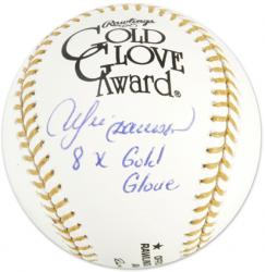 Andre Dawson Chicago Cubs Autographed Gold Glove Baseball with 8X Gold Glove Inscription