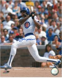 Andre Dawson Chicago Cubs Autographed 8'' x 10'' Looking At Ball Photograph - Mounted Memories