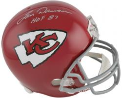 "Len Dawson Kansas City Chiefs Autographed Riddell Throwback Replica Helmet with ""HOF 87"" Inscription - Mounted Memories"