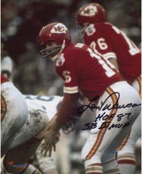Len Dawson Kansas City Chiefs Autographed 8'' x 10'' Under Center Photograph with Multiple Inscriptions - Mounted Memories