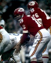 Len Dawson Kansas City Chiefs Autographed 16'' x 20'' Under Center Photograph with Multiple Inscriptions - Mounted Memories