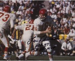 """Len Dawson Kansas City Chiefs Autographed 8"""" x 10"""" White Rollout Photograph with Multiple Inscriptions"""
