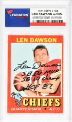 Len Dawson Kansas City Chiefs Autographed 1971 Topps #180 Card with SB IV MVP, SB IV Champ, HOF 87 Inscription - Mounted Memories  - Mounted Memories