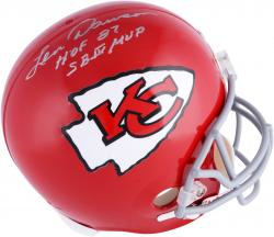 Len Dawson Kansas City Chiefs Autographed Riddell Replica 1963-73 Helmet with Multiple Inscriptions - Mounted Memories
