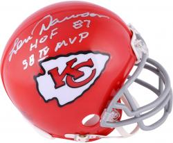 Len Dawson Kansas City Chiefs Autographed Riddell 1963-73 Throwback Mini Helmet with Multiple Inscriptions - Mounted Memories