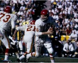 "Len Dawson Kansas City Chiefs Autographed 16"" x 20"" White Rollout Photograph with Multiple Inscriptions"