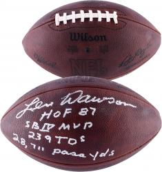Len Dawson Kansas City Chiefs LE Autographed Duke Pro Football with HOF & SB Inscriptions-#24 of a Limited Edition of 24 - Mounted Memories