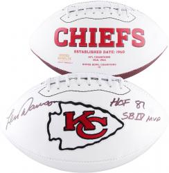 Len Dawson Kansas City Chiefs Autographed White Panel Football with Multiple Inscriptions