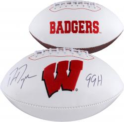 Ron Dayne Wisconsin Badgers Autographed Logo Football - 99 Heisman