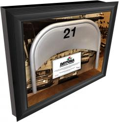 Daytona International Speedway Shadow Box with Generic Metal Seat & Vintage Image