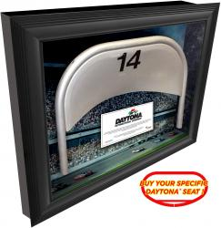 Daytona International Speedway Shadow Box with Specific Numbered Metal Seat - Mounted Memories