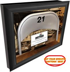 Daytona International Speedway Vintage Shadow Box with Specific Numbered Metal Seat  - Mounted Memories