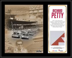 "Richard Petty Daytona International Speedway 12""  x 15"" Plaque with Race-Used Sign"