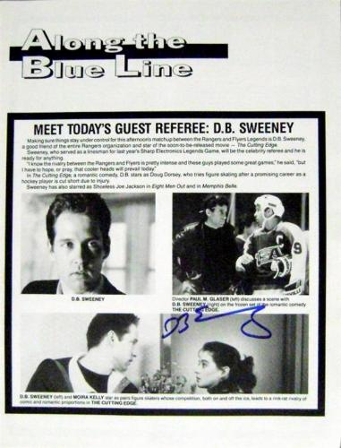 D.B Sweeney autographed Cutting Edge movie promotional 8x10 page Hockey Roster Insert 1992