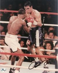 Oscar De La Hoya Autographed 8'' x 10'' In Ring Photograph