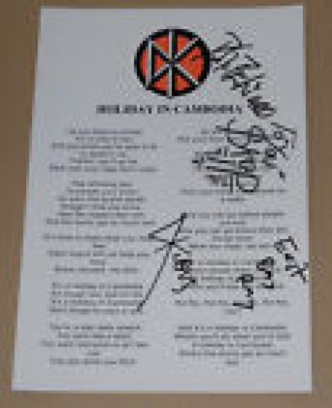 Dead Kennedys Signed Autographed HOLIDAY IN CAMBODIA Music Lyric Sheet COA A