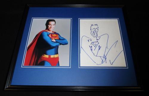 Dean Cain Signed Framed 16x20 Sketch & Photo Set JSA Lois & Clark Superman