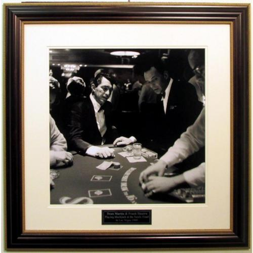 Dean Martin and Frank Sinatra Playing Blackjack Framed Photo