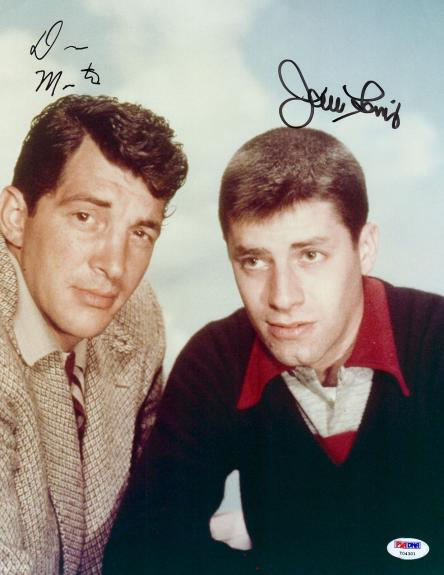 Dean Martin and Jerry Lewis Dual Signed 11x14 Photo Autographed PSA DNA LOA