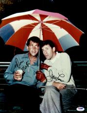 "Dean Martin & Jerry Lewis Autographed ""11 x 14"" Holding Umbrella Photograph - PSA/DNA LOA"
