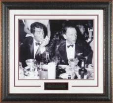 Dean Martin unsigned Cocoanut Grove LA Drinking Vintage B&W 11X14 Photo Black Leather Framed w/ Frank Sinatra (entertainment)