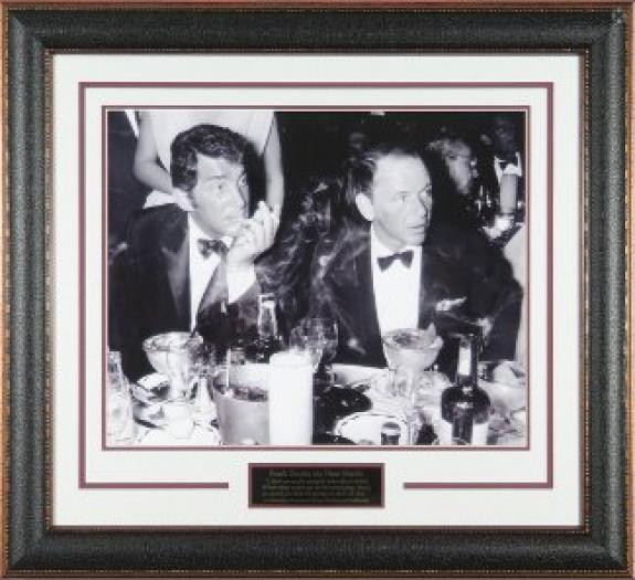 Dean Martin unsigned Cocoanut Grove LA Drinking Vintage B&W 16x20 Photo Black Leather Framed w/ Frank Sinatra (entertainment)