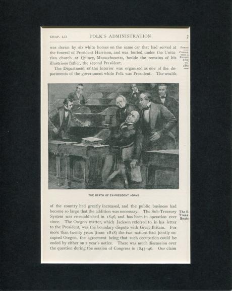 Death Collapse Ex-President John Quincy Adams Original Book Photo Display