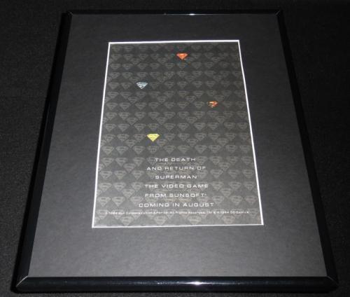 Death of Superman 1994 Sunsoft Framed 11x14 ORIGINAL Vintage Advertisement