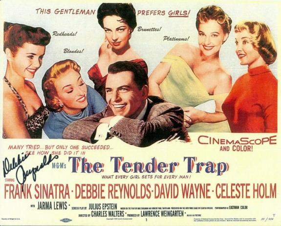 Debbie Reynolds The Tender Trap Signed Autograph Photo With Frank Sinatra
