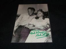 Debra Paget Auto Signed Vintage 4x6 Photo with Elvis Presley RARE C