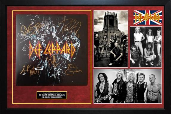 Def Leppard Autographed Ltd Ed 180g Vinyl Album LP Framed Custom Display AFTAL