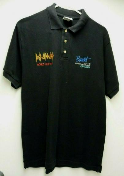 Def Leppard Band REAL Crew 1999 World Tour Issued Medium Polo Shirt SS2