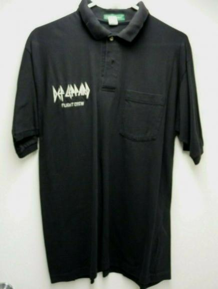 Def Leppard Band REAL FLIGHT CREW World Tour Issued Large Polo Shirt SS2