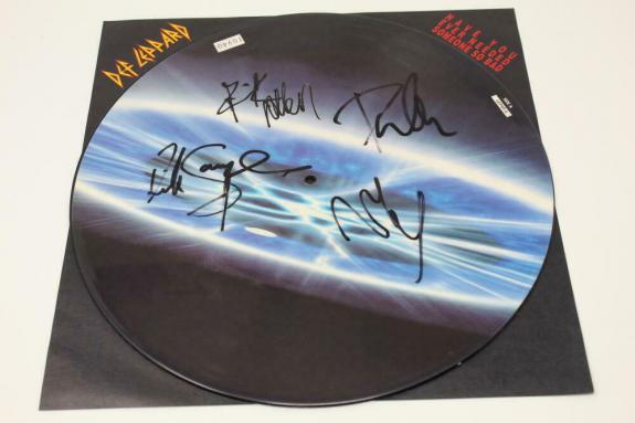 Def Leppard Band (x4) Signed Autograph Picture Disc Album Vinyl Record - Real