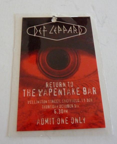 Def Leppard Wapentake Bar 1995 UK Tour Issued Used Backstage Pass Laminate REAL