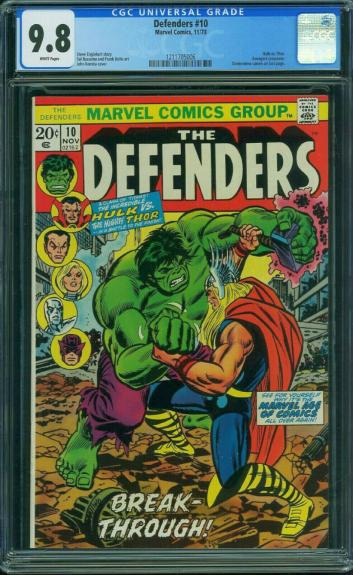 Defenders #10 Cgc 9.8 White Pages Classic Hulk Vs Thor Battle Cover #1211705006