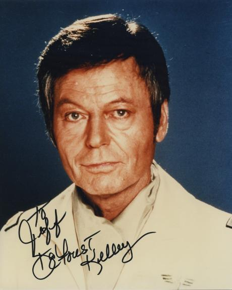 Deforest Kelley Signed Autographed Color Photo Star Trek Rare Bones To Jeff