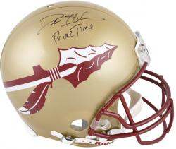 Deion Sanders Florida State Seminoles Autographed Riddell Pro-Line Authentic Helmet with 'Prime Time' Inscription - Mounted Memories