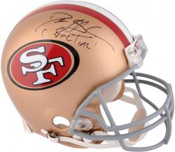 Deion Sanders San Francisco 49ers Autographed Pro-Line Riddell Authentic Helmet with Prime Time Inscription - Mounted Memories