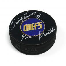 Yvon Barrette as Denis Lemieux Signed Slap Shot Charleston Chiefs Hockey Puck