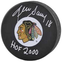 Chicago Blackhawks Denis Savard Autographed Puck - Mounted Memories