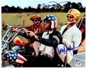 "Dennis Hopper, Jack Nicholson, & Peter Fonda Autographed 11"" x 14"" Easy Rider Motorcylce  Photograph - BAS COA"