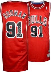Dennis Rodman Chicago Bulls Autographed Red Adidas Jersey with HOF 2011 Inscription