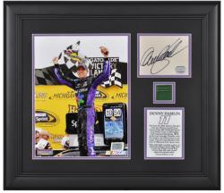 Denny Hamlin Signed Photo - 2011 Heluva Good! Sour Cream Dips 400 Winner Framed Card Flag Limited Edition of 111 Mounted Memories