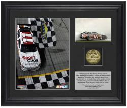 "Denny Hamlin 2012 Irwin Advocare 500 Race Winner 6"" x 5"" Photo with Plate & Gold Coin - L.E. of 311 - Mounted Memories"
