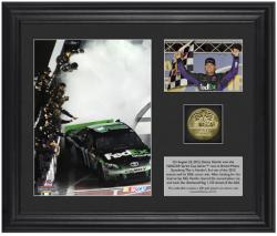 "Denny Hamlin 2012 Irwin Tools Race Winner Framed 6"" x 5"" Photo with Plate & Gold Coin - Limited Edition of 311 - Mounted Memories"