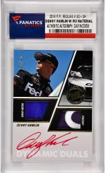 Denny Hamlin Nascar Autographed 2014 Press Pass Redline #DD-DH Card /25 with Race Worn Firesuit & Sheet Metal