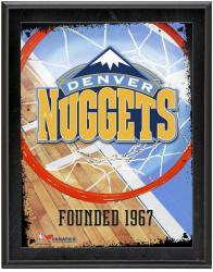 """Denver Nuggets Team Logo Sublimated 10.5"""" x 13"""" Plaque"""