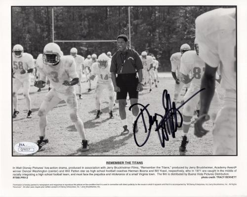 DENZEL WASHINGTON HAND SIGNED 8x10 PHOTO     RARE      REMEMBER THE TITANS   JSA